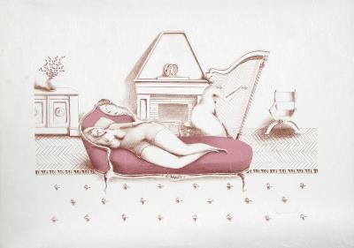 Lounging with Harp (Rose)-Branko Bahunek-Limited Edition