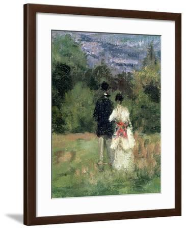 Louveciennes, Detail of Lovers-Camille Pissarro-Framed Giclee Print