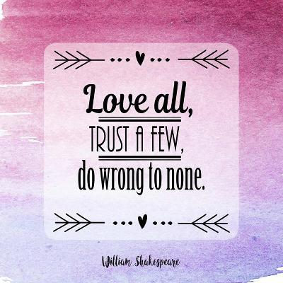 Love All Trust A Few Magenta Ombre Art Print By Quote Master Artcom