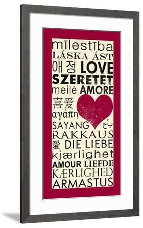 Love Around the World with Red Boarder-Veruca Salt-Framed Art Print