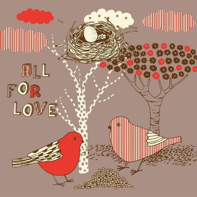 Love Background with Birds-Lavandaart-Art Print