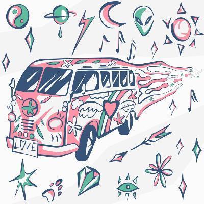 Love Bus Vector Poster. Hippie Car, Mini Van with Different Symbols. Retro Colors. Psychedelic Conc-INAMEL-Art Print