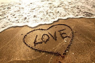 Love Concept Handwritten on Sand- Kawing921-Photographic Print