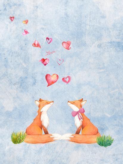 Love Fox Animal 3-Grab My Art-Art Print