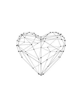 Love Heart Wire Polygon Art Print By Brett Wilson