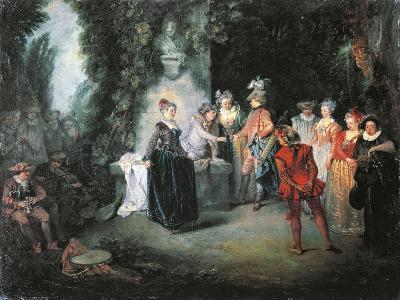 Love in French Theatre-Jean-Antoine Watteau-Giclee Print