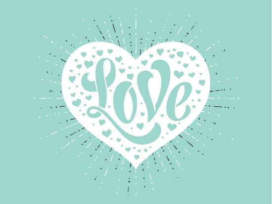 Love In White Heart On A Turquoise Background Art Print By