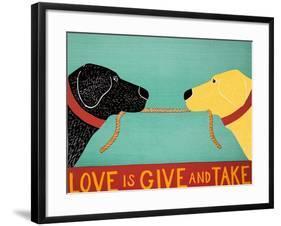 Love Is Black Yellow-Stephen Huneck-Framed Giclee Print
