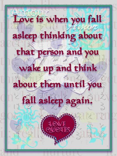 Love Is When You  Fall Asleep Thinking About-Cathy Cute-Giclee Print