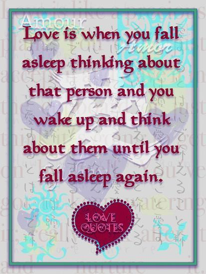 Love Is When You Fall Asleep Thinking About Giclee Print by Cathy Cute |  Art com