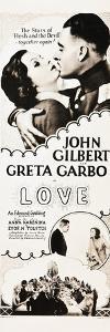 LOVE, l-r: Greta Garbo, John Gilbert on insert poster, 1927.