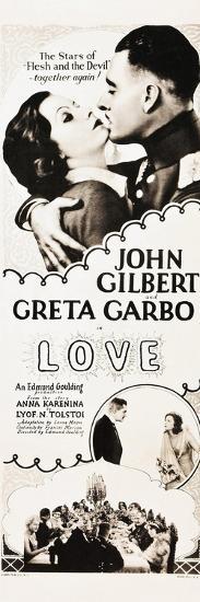 LOVE, l-r: Greta Garbo, John Gilbert on insert poster, 1927.--Art Print