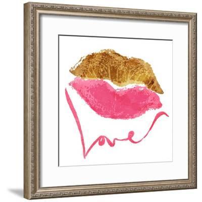 Love Lips White-OnRei-Framed Art Print