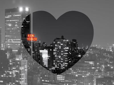 Love NY Series - B&W Cityscape at Night with the New Yorker Hotel - Manhattan - New York - USA-Philippe Hugonnard-Photographic Print