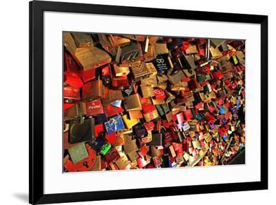 Love Padlocks on Hohenzollern Bridge, Cologne, North Rhine-Westphalia, Germany, Europe-Hans-Peter Merten-Framed Photographic Print