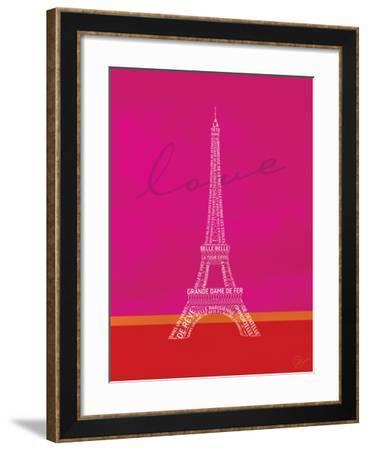 Love Paris - Pink and Red-Dominique Vari-Framed Art Print