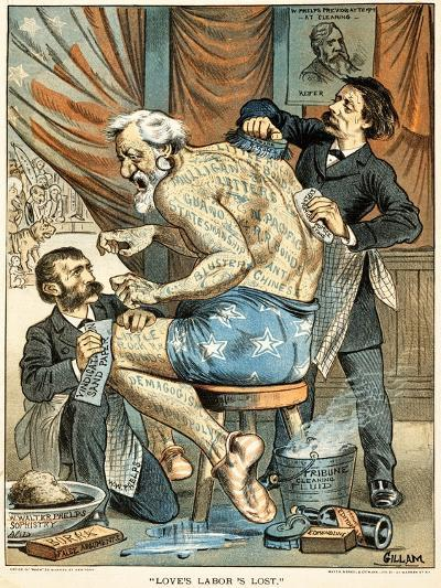 Love's Labor's Lost Published in Puck Magazine, 1884 (Colour Chromolithograph)-Bernard Gillam-Giclee Print