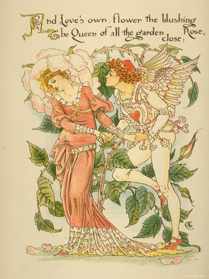 Love's Own Flower Blushing Rose, Queen of All the Garden Close Written and Drawn by Walter Crane--Photographic Print