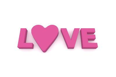 Love with Heart in Pink/Purple-PixBox-Art Print