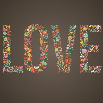 Love Word Made of Flowers, Birds and Leafs-smilewithjul-Art Print