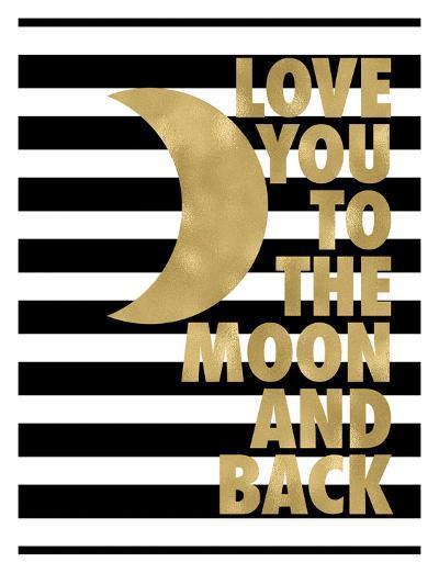 Love You Moon Back Black White Stripe-Amy Brinkman-Art Print