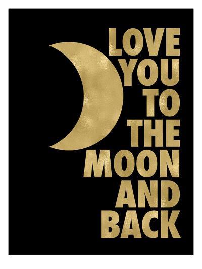 Love You Moon Back Golden Black-Amy Brinkman-Art Print
