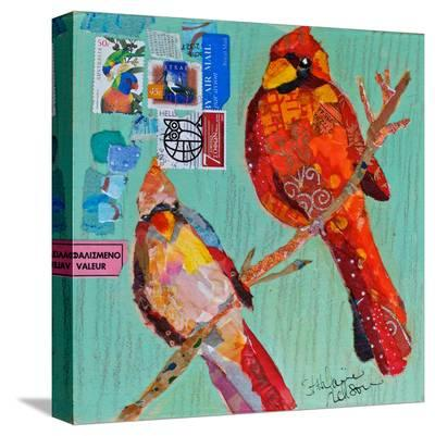 Lovebirds Cardinals--Stretched Canvas Print