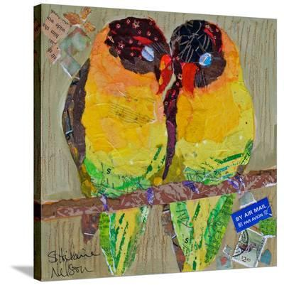 Lovebirds Yelllow--Stretched Canvas Print