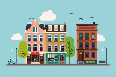 Lovely Colorful City Downtown Landscape with Various Townhouses, Trees, Clouds and Other Urban Deta-Mascha Tace-Art Print