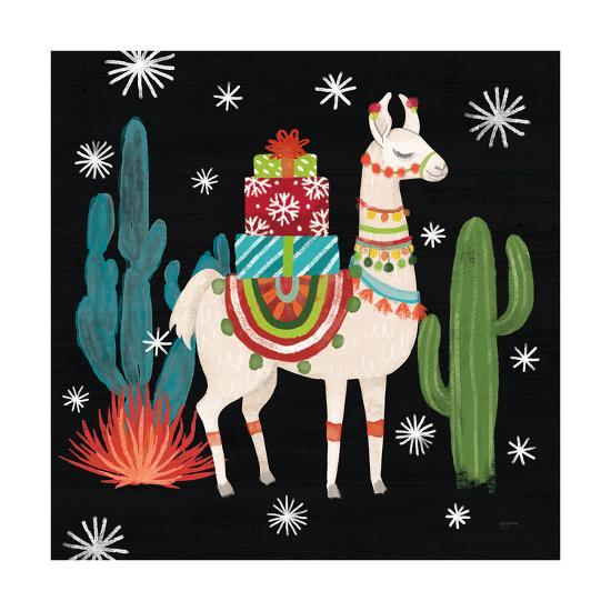 Lovely Llamas II Christmas Black-Mary Urban-Art Print
