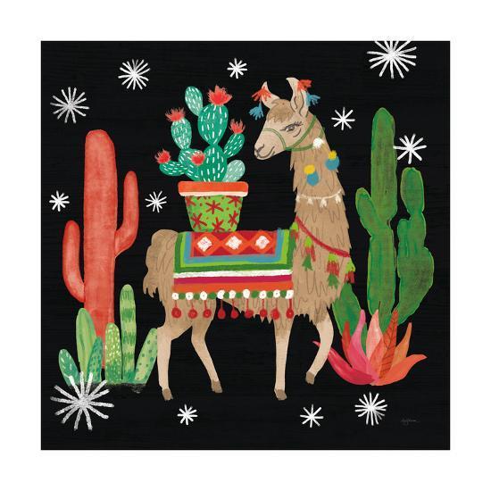 Lovely Llamas III Christmas Black-Mary Urban-Art Print