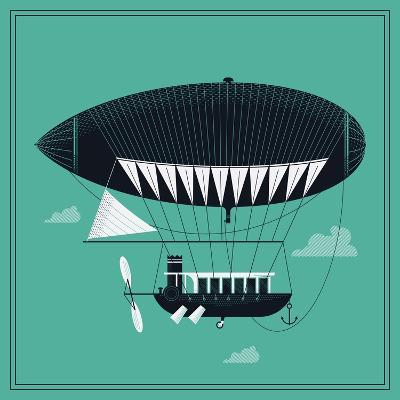 Lovely Vector Airship Illustration | Fairytale Dirigible Floating in the Sky Stylish Decorative Des-Mascha Tace-Art Print