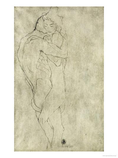 Lovers, Black Crayon (1908)-Gustav Klimt-Giclee Print