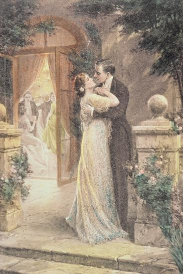 Lovers Embracing on a Terrace, Greeting Card, c.1900--Giclee Print