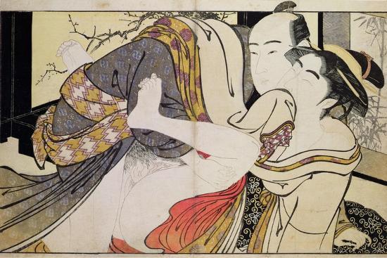Lovers from the 'Poem of the Pillow'-Kitagawa Utamaro-Giclee Print
