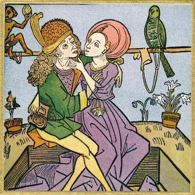 Lovers in the Middle Ages. from Illustrierte Sittengeschichte Vom Mittelalter Bis Zur Gegenwart--Giclee Print