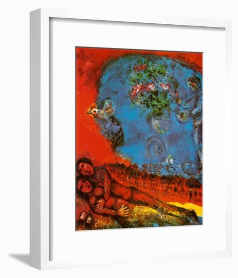 Lovers on a Red Background-Marc Chagall-Framed Art Print