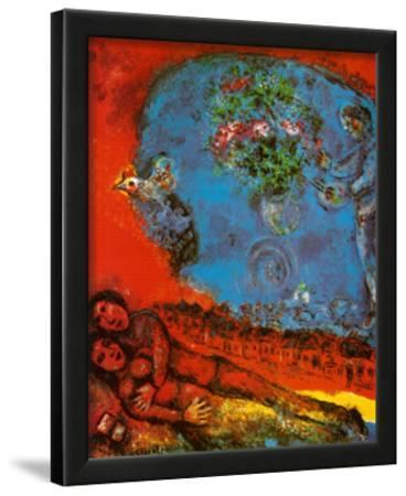 Lovers on a Red Background-Marc Chagall-Lamina Framed Art Print