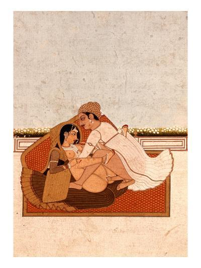 Lovers on a Terrace with White Flowers, Murshidabad, C.1775, (Gouache on Paper)-Indian-Premium Giclee Print