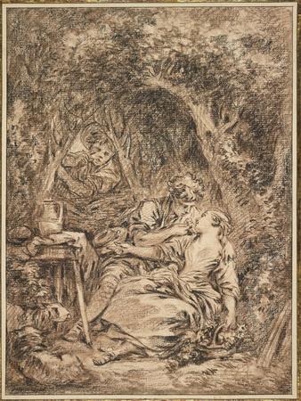 Lovers Surprised (Annette Et Lubin), Early 1760s-Francois Boucher-Giclee Print