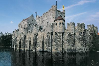 Low Angle View of a Castle, Gravensteen Castle, Ghent, East Flanders, Flanders, Belgium--Photographic Print