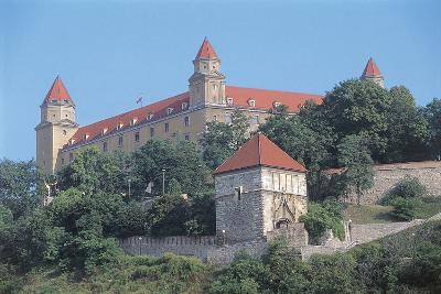 Low Angle View of a Castle on a Hill, Bratislava Castle, Bratislava, Slovakia--Photographic Print