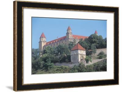 Low Angle View of a Castle on a Hill, Bratislava Castle, Bratislava, Slovakia--Framed Photographic Print