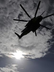 Low Angle View of a Ch-53E Super Stallion Helicopter in Flight