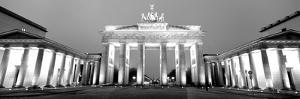 Low Angle View of a Gate Lit Up at Dusk, Brandenburg Gate, Berlin, Germany