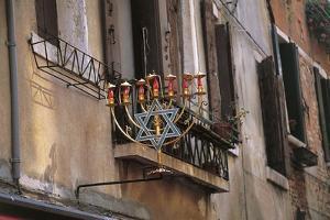 Low Angle View of a Jewish Symbol in a Ghetto, Venice, Veneto, Italy
