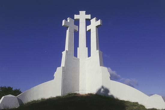 Low Angle View of a Monument, Three Crosses Monument, Vilnius, Lithuania--Giclee Print