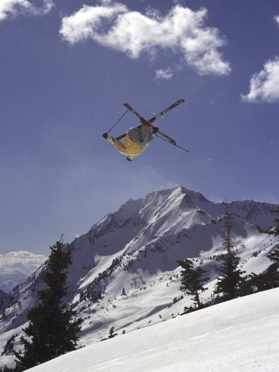 Low Angle View of a Skier in Mid Air--Photographic Print