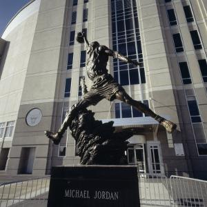 Low Angle View of a Statue in Front of a Building, Michael Jordan Statue, United Center