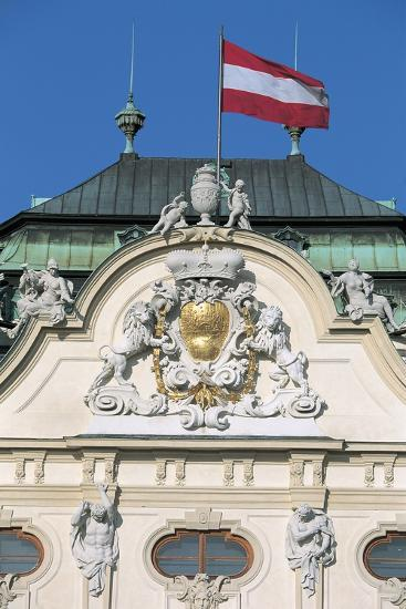 Low Angle View of an Austrian Flag on a Palace--Giclee Print